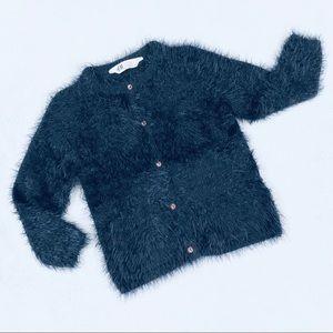 H&M Girls Black Fuzzy Cardigan Sweater Sz 4-6
